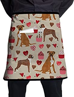 Boxer Dog Valentines Love Cupcakes BBQ Waiter Housekeeper Pet Grooming Bartender Kitchen Beautician Hairstylist Nail Salon Carpenter Decorations Ornament Theme Pocket Half Apron