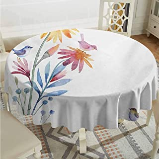 ScottDecor Kids Round Tablecloth Watercolor Springtime Flowers with Birds Unusual Color Scheme Brush Effect Slate Blue Amber Levander Table Cover Diameter 70