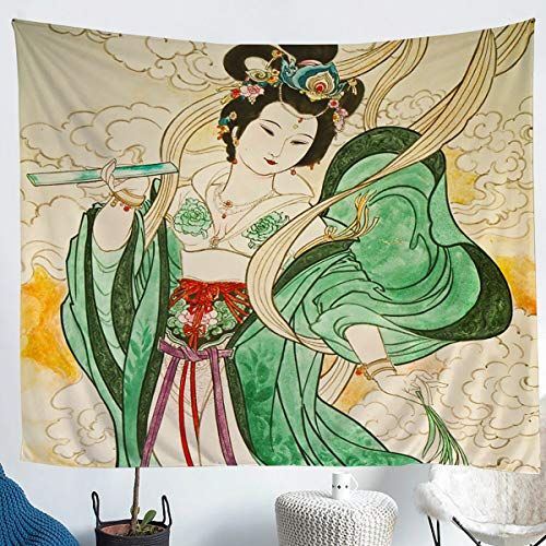 Erosebridal Fairy Girl Tapestries Buddha Wall Hangings Ancient Chinese Culture Tapestry for Kids Girls Women Adults Exotic Retro Throw Blanket Bedroom Decoration Large 59x82 Green Yellow