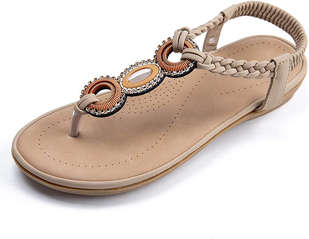 Summer Max 60% OFF Sandals cheap for Womens Comfortable Flat Elastic T-strap Shoes