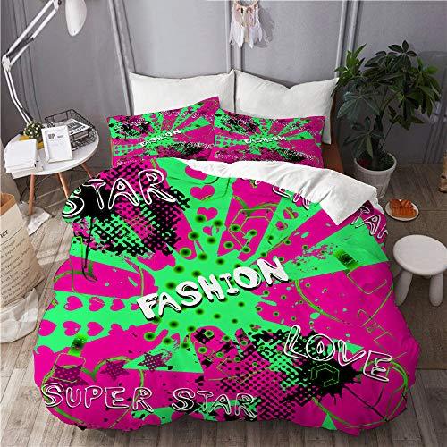 WINCAN Juego de cama de 3 piezas,abstracto,sin costuras,diseño de círculos,superpuesto de luz,decorativo,juego de funda de edredón con 2 fundas de almohada,tamaño individual (135 x 200 cm),135x200cm
