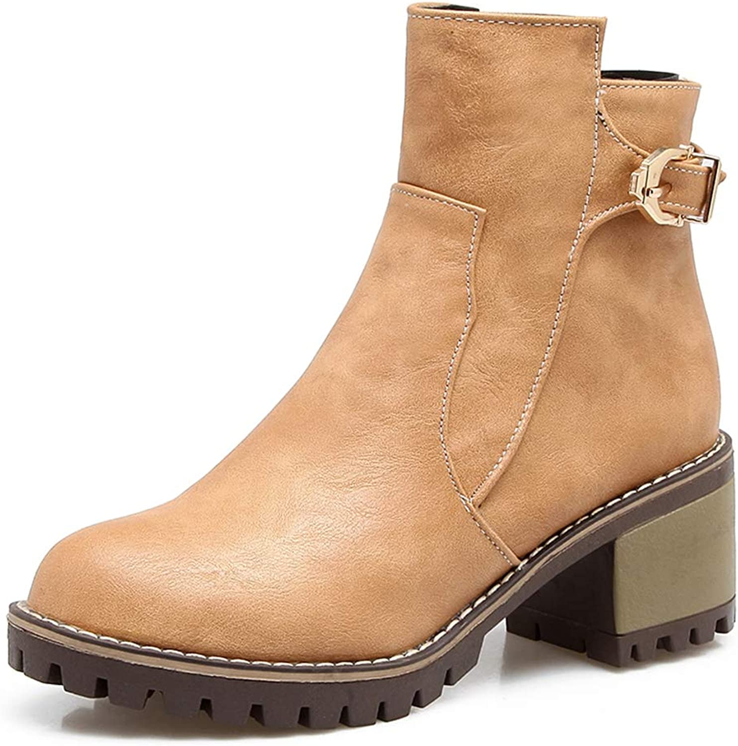 Btrada Women Retro Short Boots Chunky Square Heels Winter shoes Side Zipper Ankle Boots Non-Slip Booties