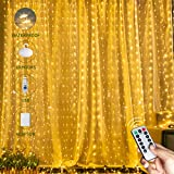 Micro Thin Curtain String Lights with 8 Modes & Timer Remote, 300 LED 9.8Ft x 9.8Ft Twinkle Fairy Lights Bling Like Diamonds, Best Icicle Lights for Backdrop Wedding Christmas Party Decoration, Warm