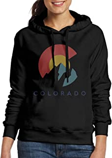 Colorado Flag with Mountains Womens Cotton Casual Pullover Sweatshirts Fashion Hooded Hoodies