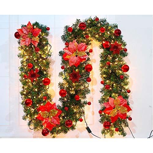 Ghirlanda di Decorazioni Natalizie con Ghirlanda di Rattan Natalizia Illuminata Decorazioni per Scale A LED per Camino Decorazioni per Eventi del Negozio di Natale Regali di Natalelights