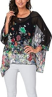 Women's Bohemian Style Batwing Sleeve Butterflies Printed Chiffon Caftan Poncho Tunic Top Beach Loose Shirt