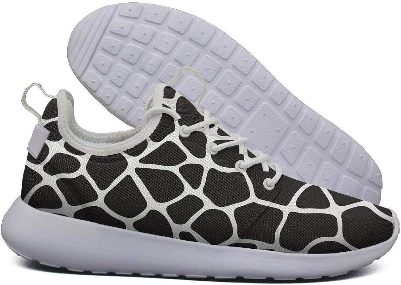Hoohle Sports Womens Black Giraffe Skin Print Flex Mesh Roshe 2 Lightweight Breathable Running Sneakers shoes