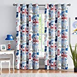 Full-Blackout Curtains for Kids Bedroom Flag Window Curtains 63' Length Vintage British Lindon Icons on White Window Drapes for Living Room Energy Efficient Kids Children Playroom 50'w x2Pcs