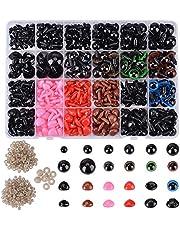 Queta Set de Ojos de Seguridad, 838pcs Ojos de Plástico para Manualidades y Narices de Seguridad, Accesorios para Manualidades de Bricolaje para Muñecas, Muñecos de Peluche y Títeres (1)