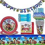 Einweggeschirr mit Paw Patrol-Design, Dekoration für Geburtstagsfeier, Party, Banner, Teller, Becher, Servietten und Tischdecke, 62 Stück