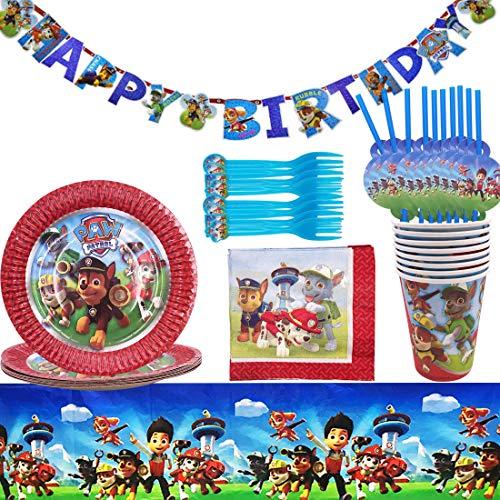 Gebutstag Party Set 52-Teiliges Party-Set Paw Patrol Teller Becher Servietten Trinkhalme für 8 Kinder Geburtstag Dekoration Set Happy Birthday Deko Bunte Partykette