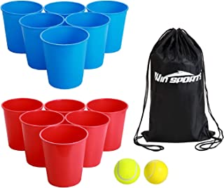 Win SPORTS Bucket Pong Game,Giant Yard Pong-Beer Pong Set for Beach Edition-Drinking Games Includes 12 Buckets,2 Balls,Carry Bag- Cup and Pong Throwing Game for Adults,Teens,Family,Outdoor Indoor