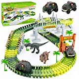Palotix Dinosaur Toys for 3 Year Old Boys, Dinosaur Train Toys Race Track 170PCS Dinosaur World Road Race Kids Toys Car for 3 4 5 6 Boys Girls Christmas Birthday Gifts