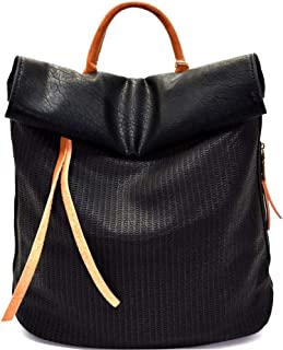 Quality Soft PU Leather Two-Tone Laser-cut Detail Roll-Up Boho Casual Diaper Leisure Backpack Purse