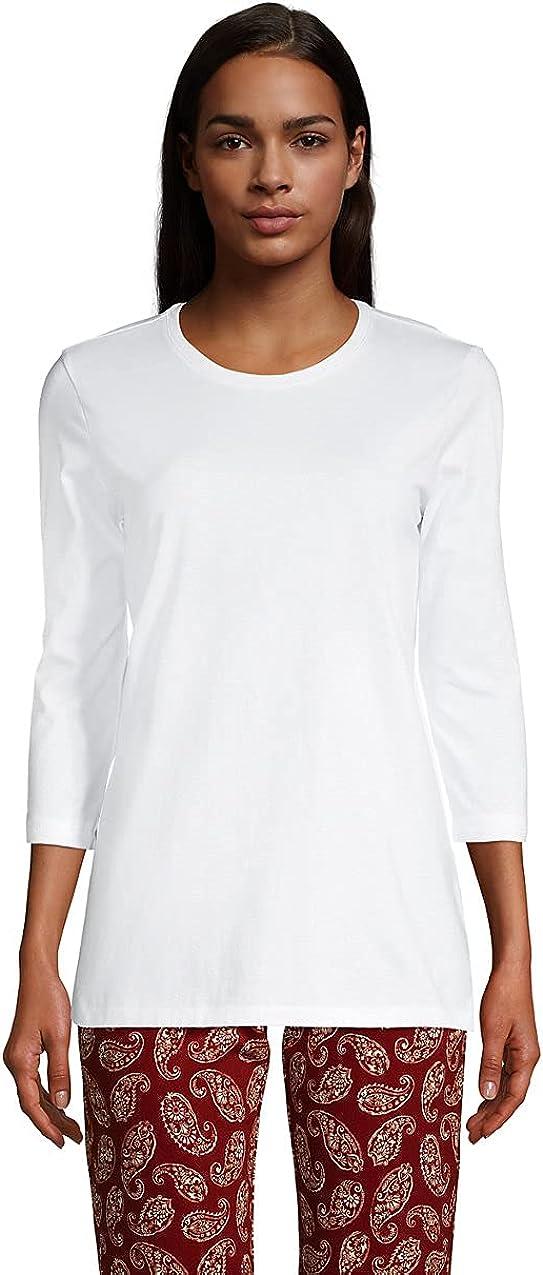 Lands' End Women's 3/4 Sleeve Supima Cotton Crewneck Tunic