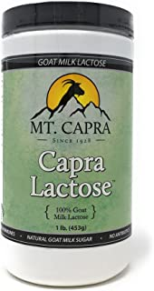 MT. CAPRA SINCE 1928 CapraLactose | Goat Milk Lactose Powder, Pure Milk Sugar from Goats, Boost Beneficial Gut Bacteria Lactobacillus Acidophilus in GI-Tract - 1 Pound