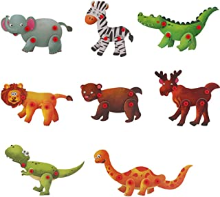 Hli-SHJHsmu Variety Animal DIY Electric Drill Toy Set STEM Toy Early Education Drill Game DIY Electric Drill Puzzle Assembly Kit Building Blocks Learning Set