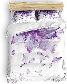 LnimioAOX Conjuntos de Ropa de Cama de 3 Piezas, pétalo púrpura Elegante y Simple Flor Funda nórdica Juego de Colcha para niños/niños/Adolescentes/Adultos, Twin/Twin XL