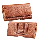 Thick Textured Brown PU Leather Cell Phone Holster with