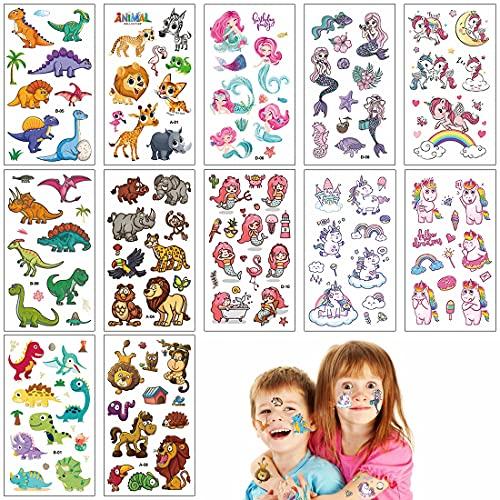 O-Kinee Tatuaggi per Bambini, 40 Fogli Temporanei Tatuaggio Finti Set de Unicorno e Animale e dinosauro e Sirena, Ricompensa Scuola Regalo Bambini Halloween, Regali di Compleanno Ragazzo Ragazza
