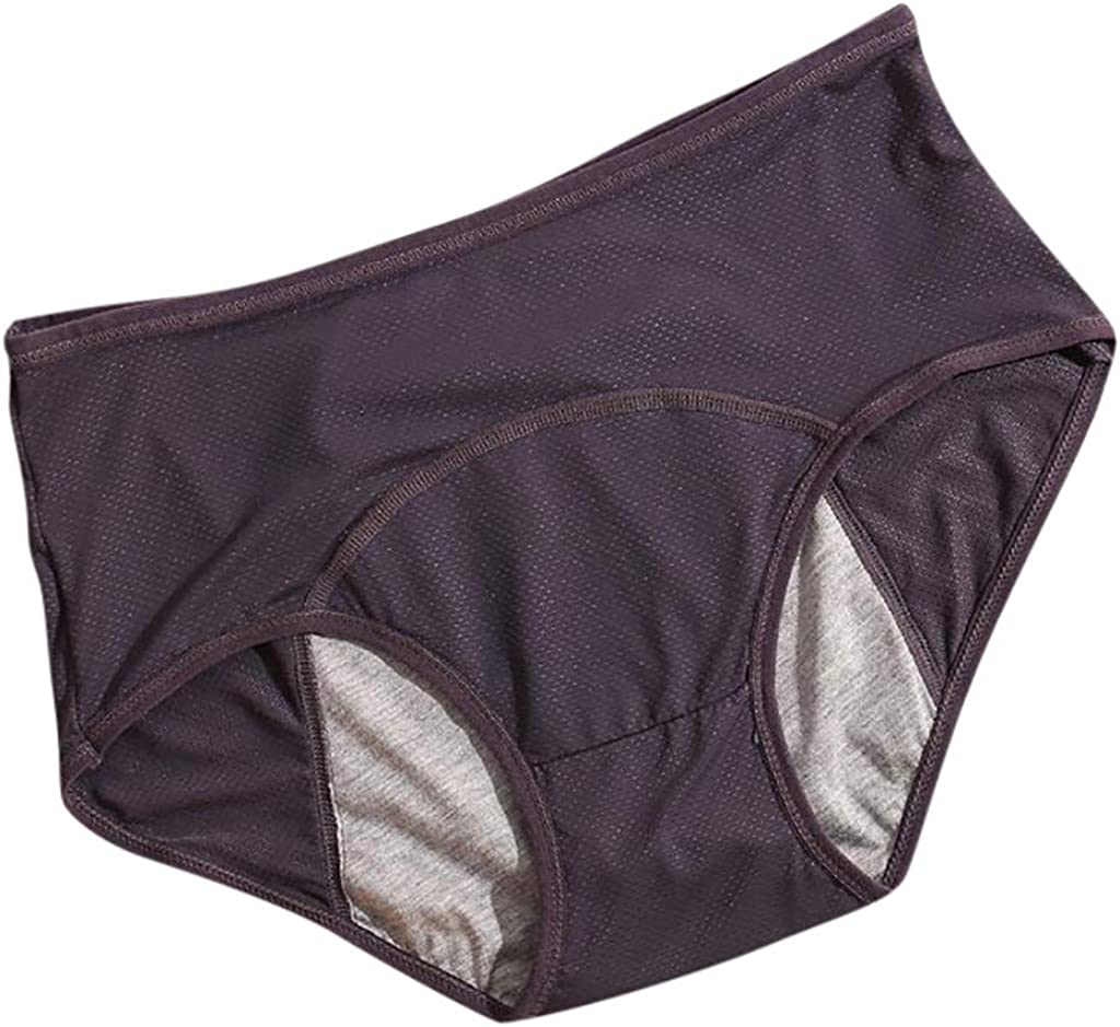 Thklokt Women's Menstrual Period Briefs Girl Ultra Soft Breathable Postpartum High Waisted Cotton Panties Underwear Panties