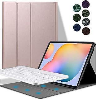 comprar comparacion YGoal Teclado Funda para Galaxy Tab S7 Plus, QWERTY Inglés Layout 7 Colors Backlit PU Cuero Funda con Desmontable Wirele...