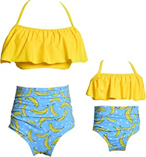 Mommy and Me Matching Family Swimsuit Ruffle Women Swimwear Kids Children Toddler Bikini Bathing Suit Beachwear Sets