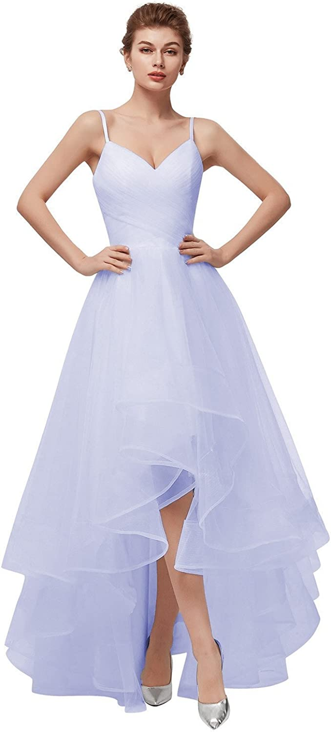 Womens Spaghetti Strap Homecoming Dresses Long Ruffled Skirt Beach Wedding Dress