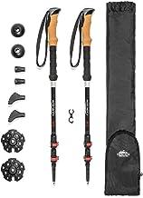 Cascade Mountain Tech 3K Carbon Fiber Adjustable Trekking Poles - Ultralight Lightweight Quick Lock Walking or Hiking Stick - 1 Set (2 Poles)