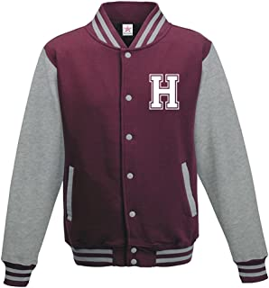 Star and Stripes Custom Initial Varsity Jacket, Personalised Varsity Jacket, Letterman College Jacket Burgundy/Heather Gre...
