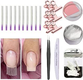 Kit de extensión de uñas de fibra de vidrio, 21 Pack uñas de fibra acrílicas para uñas postizas con equipo de extensión rápida con fibra de vidrio, clip de forma de uñas, lima de uñas y pinzas