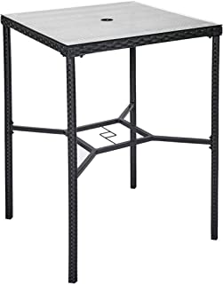 Kinbor Outdoor Bar Height Bistro Table PE Rattan Patio High Table Square Dining Table Garden Furniture with Glass Top and Umbrella Hole