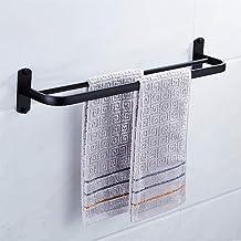 Ponsvrije zwarte handdoekstang, dubbele stok Badkamerruimte aluminium hotel dubbele handdoekhouder, handdoekstang, enkelpo...