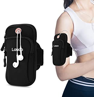 Lauco Phone Armband Arm Pouch, Sports Running Armband Holder Multifunctional Double Arm Bag Armband Compatible for iPhone 7/6 / 6s / 5 / SE/iPod, Key, Samsung Galaxy S5 / S4 / S3, LG, Mp3- Black
