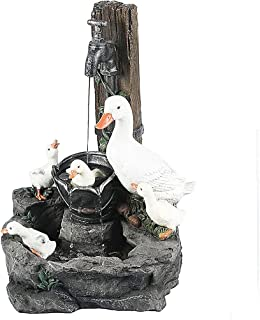 WZHZJ Battery Powered Duck Sculpture Lamp Cute Duck Pond Figurine LED Resin Craft Sculpture Lamp Garden Landscape Decor