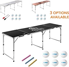 8 Foot Beer Pong Table (Dry Erase, Chalkboard, or Wood Grain) by Rally and Roar - Portable Party Drinking Games - Official 8ft x 2ft x 27.5in Regulation Size - Tournament Size, Premium Lightweight