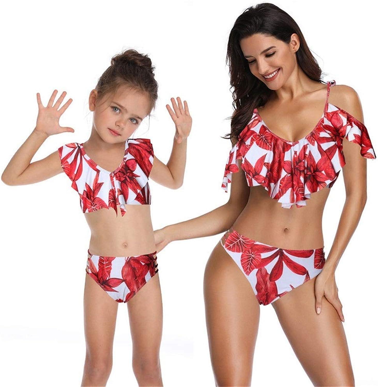 Chenyuying Bikini-Badeanzug mit gerüschten Eltern-Kind-Mustern Einteiliger Bikini-Badeanzug mit Mutter-Doppelrüschen-Bikini für Mutter und Tochter mit hohem Bund (Farbe   rot, Größe   M)