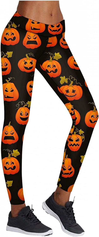 KHFU Women Halloween Funny Pumpkin Print Sports Yoga Capri Pants