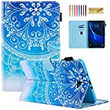 Dteck Case for Samsung Galaxy Tab A 10.1 Case SM-T580 - PU Leather Flip Stand Case for Galaxy Tab A 10.1' SM-T580 T585 T587 (NO S Pen Version), Multiple Viewing Angles & Card Slots, Blue Mandala