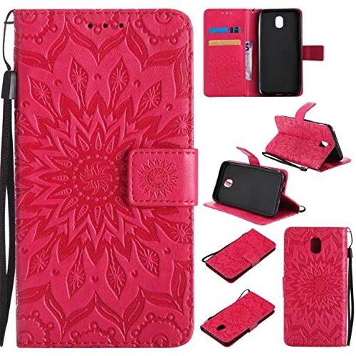 Yhuisen Custodia Protettiva in Poliuretano con Fibbia in Poliuretano a Forma di Corda con Supporto con Slot per banco per Samsung Galaxy J5 PRO 2017 J530 (Versione Europea) (Colore : Rosso)