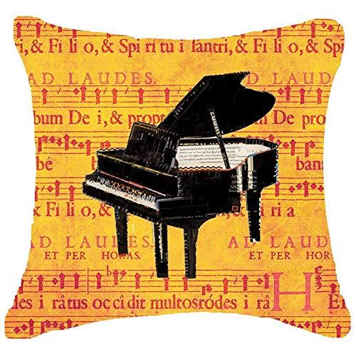 QDAS Europe klassieke Muziekinstrumenten piano Bladmuziek klaslokaal Kussensloop Kussensloop Materiaal Decoratief Vierkant