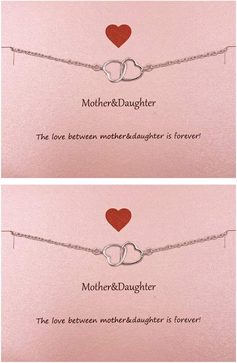 Your Always Charm Mothers Day Gifts , Mother Daughter Bracelet Set for 2,Interlocking Heart Mother's Day Jewelry Gifts from Daughter