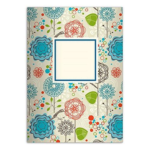 1 vrolijk Flower Power DIN A4 schoolschrift, rekenmachine, kleurrijke liniëring 29 (geruit/geruit boek)