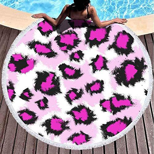 Toallas de playa redondas para niños, patrón de piel de leopardo sintético, negro, rosa, lunares carmesí, fondo blanco, 152 x 152 cm, toalla de playa grande redonda para niños, mujeres y niños