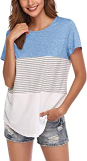 AUPYEO Women Summer Short Sleeve Tunic Tops Color Block Stripe Basic Casual Home T Shirts for Shorts