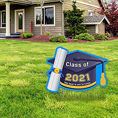 Graduation Yard Signs with Stakes Congrats Grad Yard Signs Decorations 2021 - Class of 2021 Graduation Yard Sign