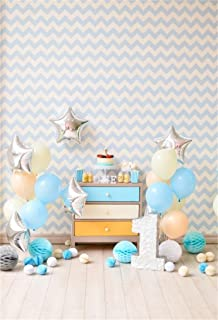 AOFOTO 4x6ft Baby 1st Birthday Photography Backdrop Sweet Balloon Cake Smash Background Interior Paper Poms Party Decoration Banner Photo Studio Props Kid Children Infant Boy Newborn Artistic Portrait