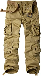 AKARMY Must Way Men's Cotton Casual Military Army Camo Combat Work Cargo Pants with 8 Pocket