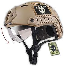 ATAIRSOFT PJ Type Tactical Multifunctional Fast Helmet with Visor Goggles Version DE