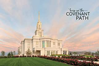 Robert A Boyd Self-Adhesive Poster (Peel & Stick)- Payson Temple- Evening Glow- 12x18 inch LDS Temple/Repositionable/Vinyl/Religious Wall Decal/Motivational Poster/